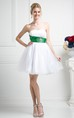 Muti-Color A-Line Short Strapless Sleeveless Backless Dress With Waist Jewellery