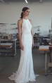 Ethereal Lace Halter Sleeveless Floor Length Bridal Gown with Bow