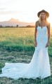 A Line Bohemian Low V Back Full Lace Beach Garden Bridal Gowns