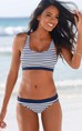 Stripe Bralette Bikini Set Swimsuit