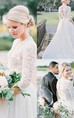 3 4 Long Sleeve Open Back Vintage Lace Pearls V-Neck Wedding Dresses
