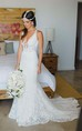 Deep V Neck Appliques Backless Trumpet Beach Lace Mermaid Bohemian Wedding Dress