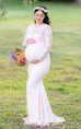 Illusion Long Sleeve Jewel Neck Lace Maternity Dress