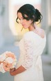 Romantic Beach 3-4 Sleeve Jewel Modest White Bohemian Lace Wedding Dress