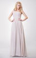 One Shoulder A-line Chiffon Gown With Pleated Bodice