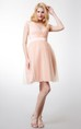A-line Short Tulle Bridesmaid Dress with Short Sleeves