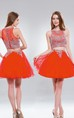 Two-Piece A-Line Short Scoop-Neck Sleeveless Tulle Illusion Dress With Beading And Ruffles