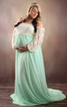 A-line Off-the-shoulder Long Sleeve Chapel Train Chiffon Maternity Dress