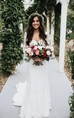 Country Style Sexy Deep V Neck Backless Long Sleeves Lace Court Train Wedding Gown