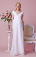 Sexy Low V Front A-line Chiffon Maternity Wedding Dress With Lace Bodice and Pleats