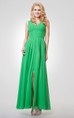 A-line Long Pleated Chiffon Dress With Straps
