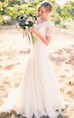 Simple Country A Line V Neck Short Sleeves Lace Wedding Gown
