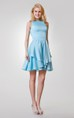 Chic Jewel Neckline Short A-line Jersey Tiered Dress