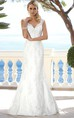 V-Neck Floor-Length Appliqued Lace Wedding Dress With Brush Train And Illusion