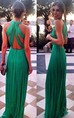 Elegant Green Long Chiffon Evening Dress Halter Cross Back