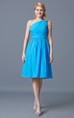 Ruched One Shoulder Knee Length Chiffon Bridesmaid Dress