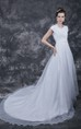 Stylish Cap-sleeved Lace Organza Gown With Belt and Beaded Flower