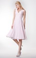 Simple V Neck A-line Tea Length Dress