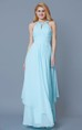 High Neck Empire Chiffon Prom Dress with keyhole Back