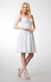Dream Sleeveless Short Chiffon Dress With Satin Belt