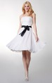 Strapless Empire Chiffon Short Bridesmaid Dress With Bow