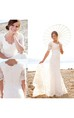 Modest Short Sleeves Beach Garden Elegant Lace Mermaid Bridal Gown with Pearls