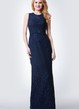 High Neck Long Lace Bridesmaid Dress with Keyhole Back