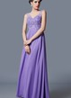 Ethereal Empire Waist Deep Vneck Princess Gown Elegant Beadwork Chiffon Skirt
