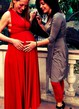 Long Red Maternity Infinity For Mom Jersey&Satin Dress