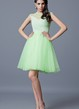 Cap Sleeve A-line Short Tulle Dress With Beading and Pleats