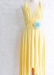 Infinity Sunshine Yellow Knee Length Wrap Convertible Dress