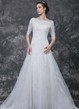 Illusion Half Sleeve A-line Tulle Gown With Lace Appliques and Beading