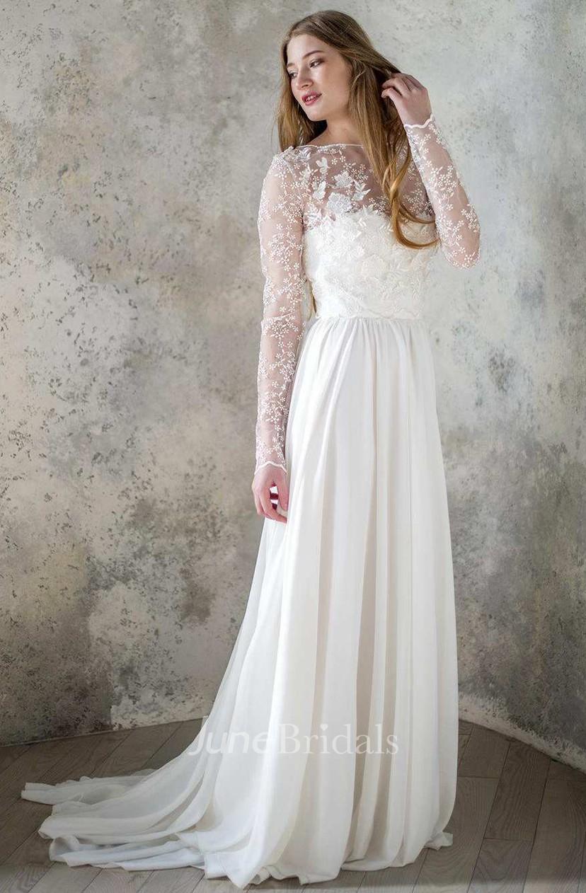 Long Sleeve Chiffon Satin Lace Lace Up Corset Back Wedding Dress