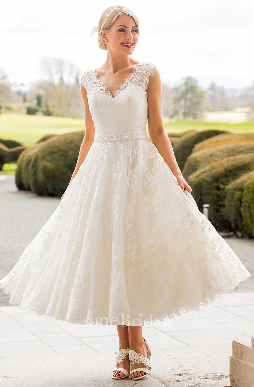 A Line Tea Length Appliqued Scalloped Cap Sleeve Lace Wedding Dress