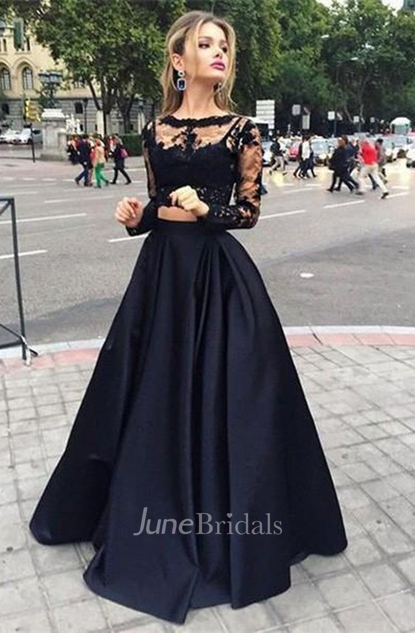 Ball Gown Long Sleeves Bateau Satin Floor Length Dresses June