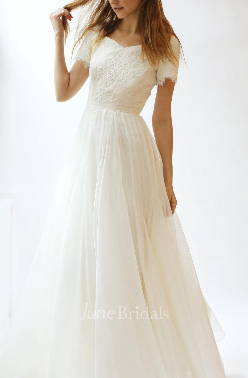 V-Neck Short Sleeve A-Line Tulle Wedding