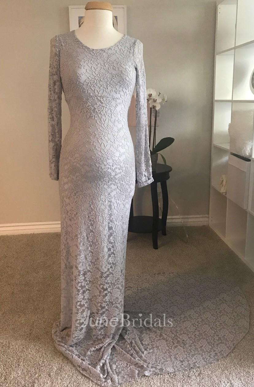 Elegant Sheath Bateau Long Sleeve Illusion Lace Maternity Dress
