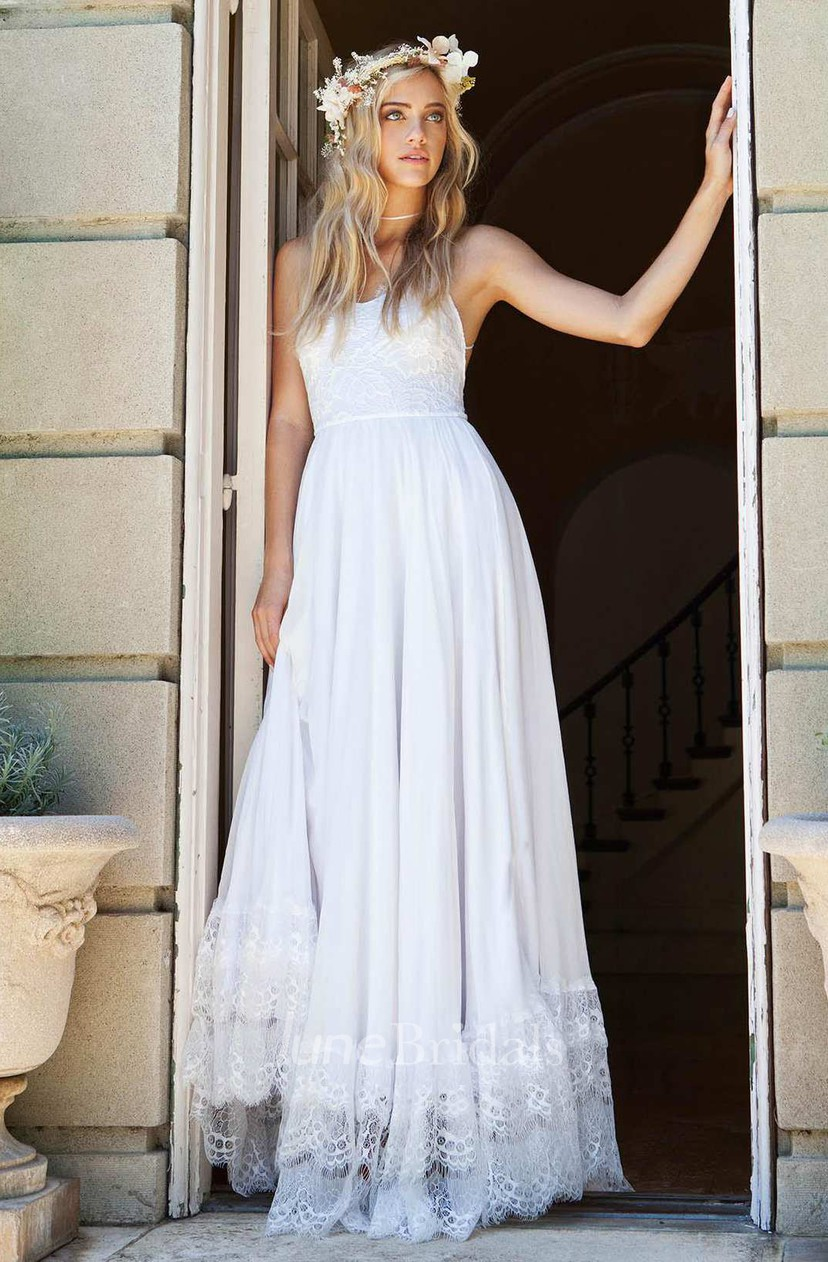 Ethereal Floor Length Chiffon Lace Wedding Dress For Summer June