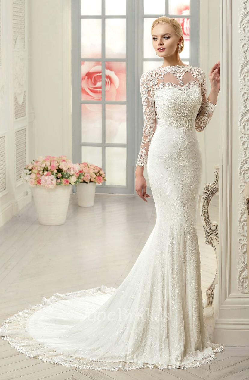 Sheath Long Jewel Long Sleeve Illusion Lace Dress With Appliques