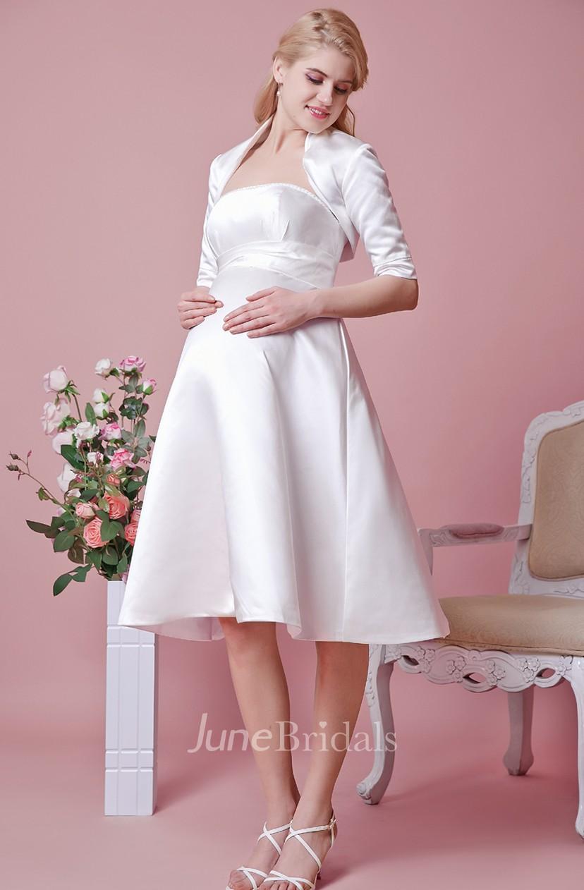 Elegant Strapless Tea Length Satin Maternity Wedding Dress With Removable Jacket