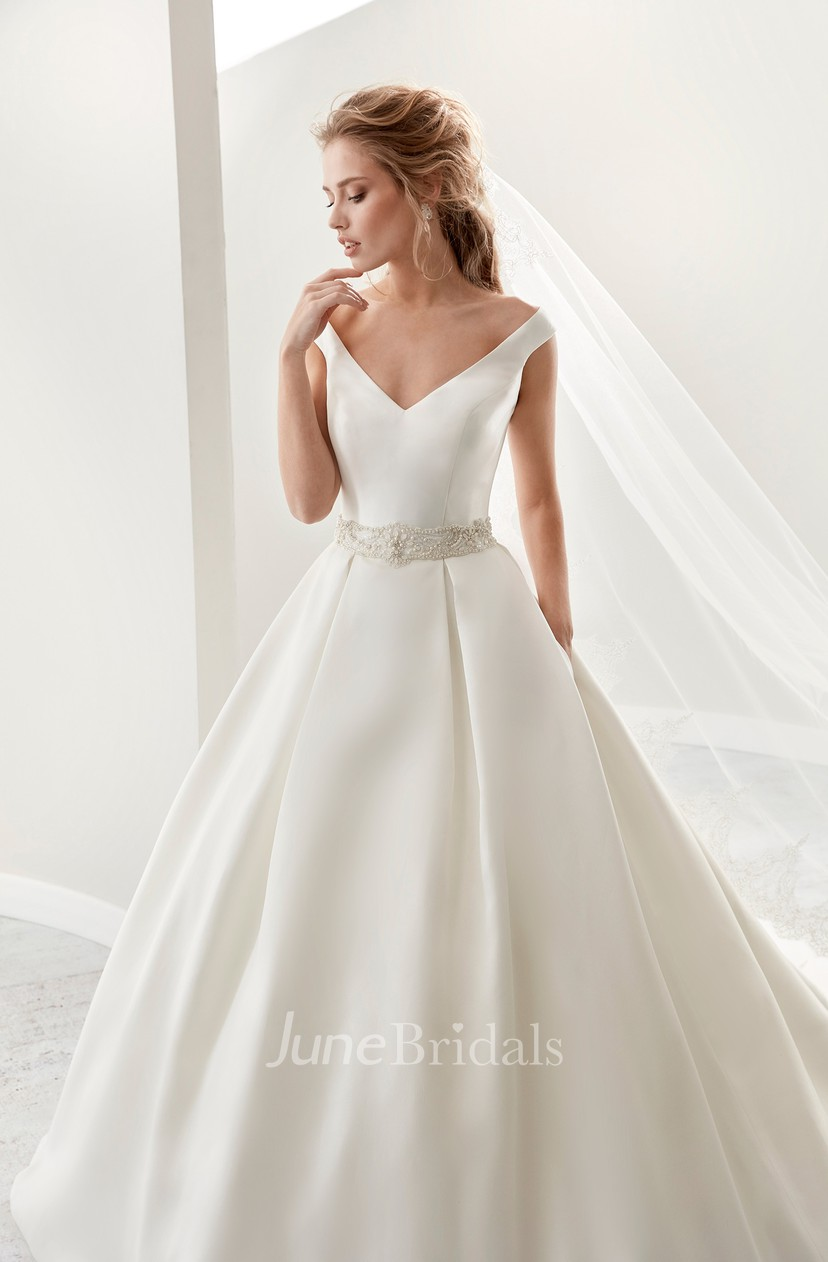 Simple V Neck A Line Satin Wedding Dress With Beaded Belt And Brush Train