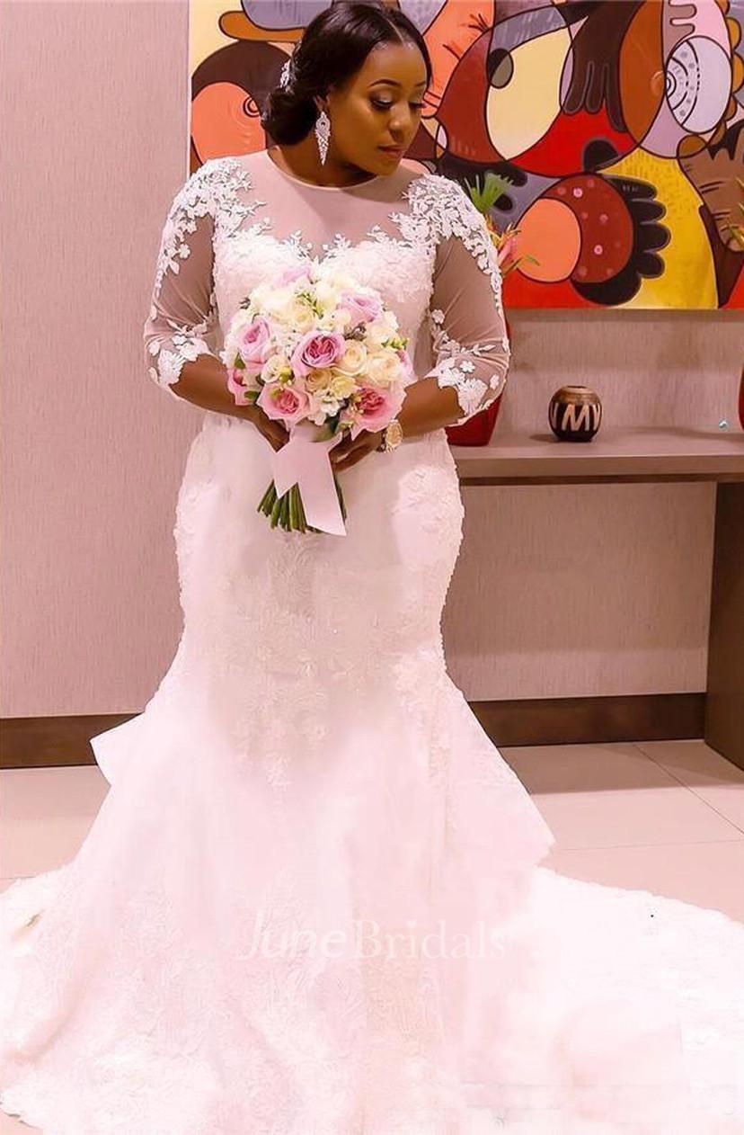 Sheer 3-4 Long Sleeves Plus Size Mermaid Wedding Dress