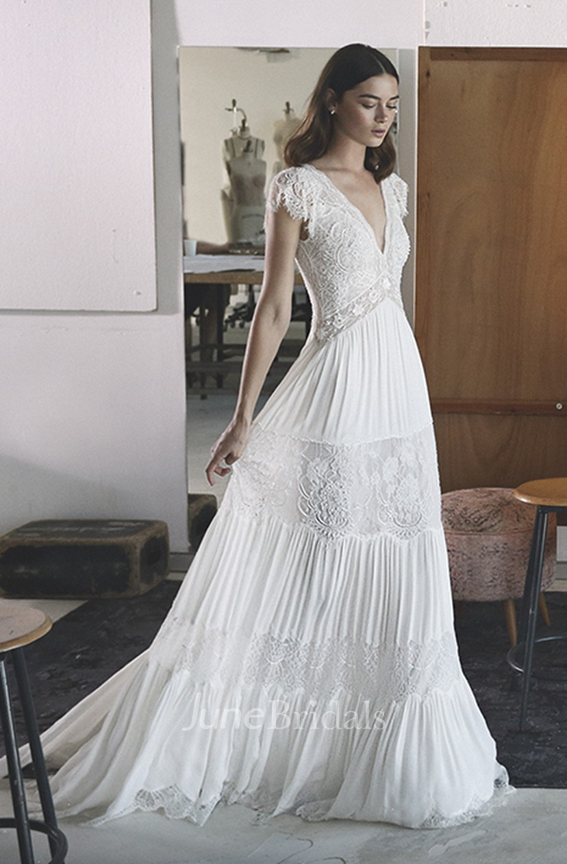 Empire Boho V Neck A Line Chiffon Wedding Gown With Petal Sleeve And Lace Tires