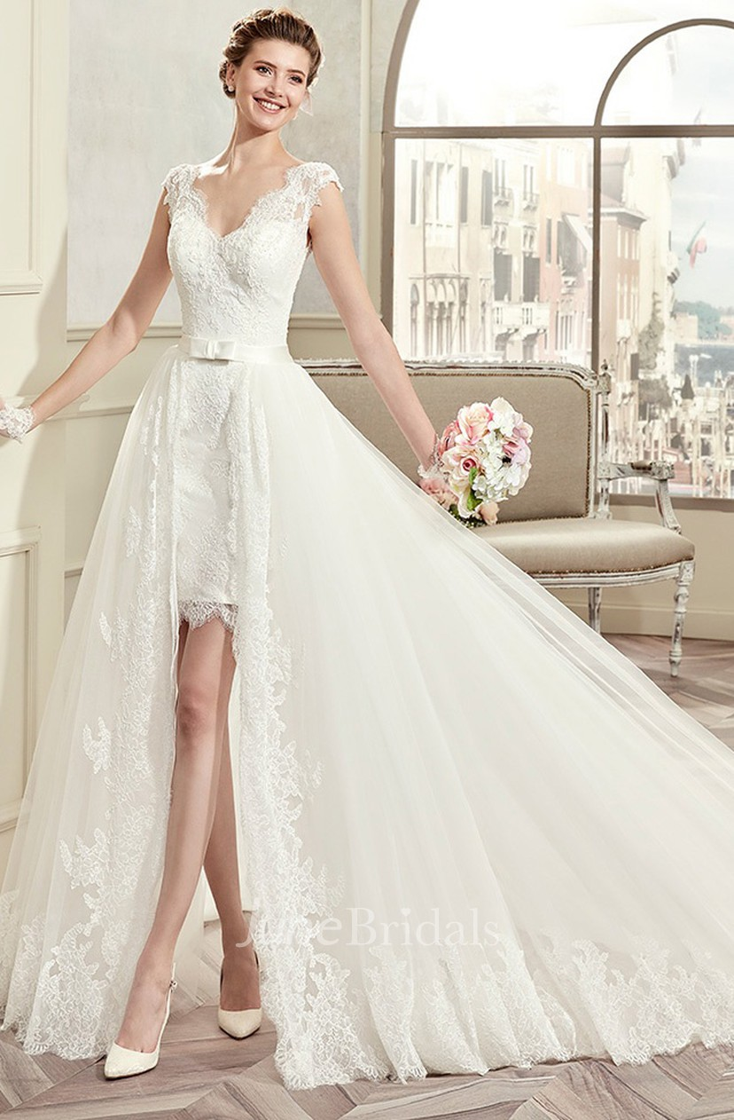 V Neck Cap Sleeve Short Lace Wedding Dress With Detachable Overlayer And Open Back