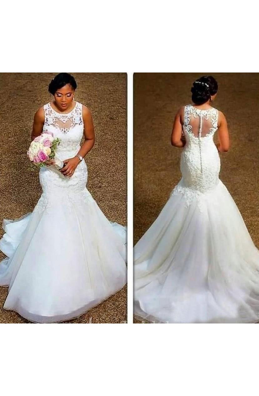 Elegant Sheer Neck Appliques Lace Plus Size Illusion Back Mermaid Wedding Dress