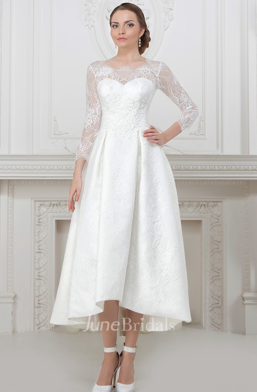 Lace Wedding Dress With Sleeves.A Line Long Sleeve High Low Scoop Neck Lace Wedding Dress With Lace Up