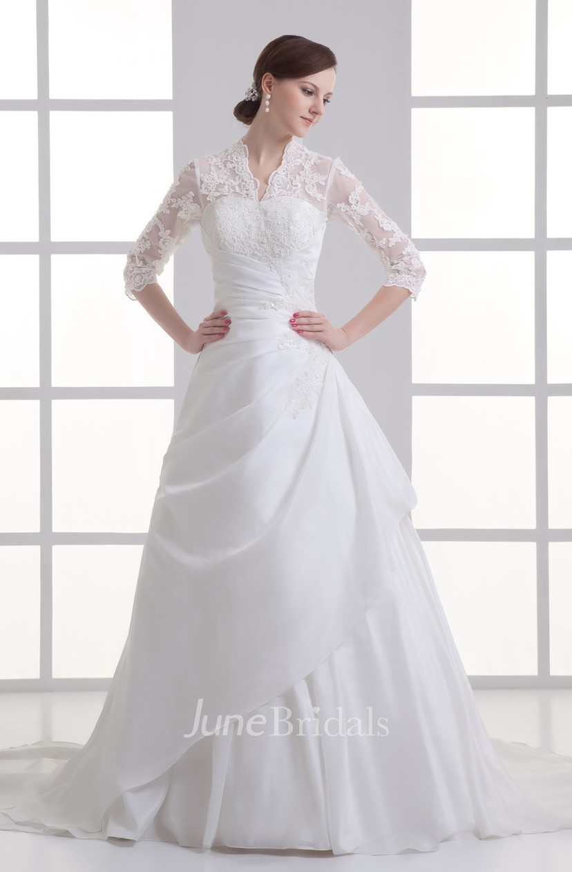 Scalloped Neck Lace Ball A Line Half Sleeve Gown With Beading