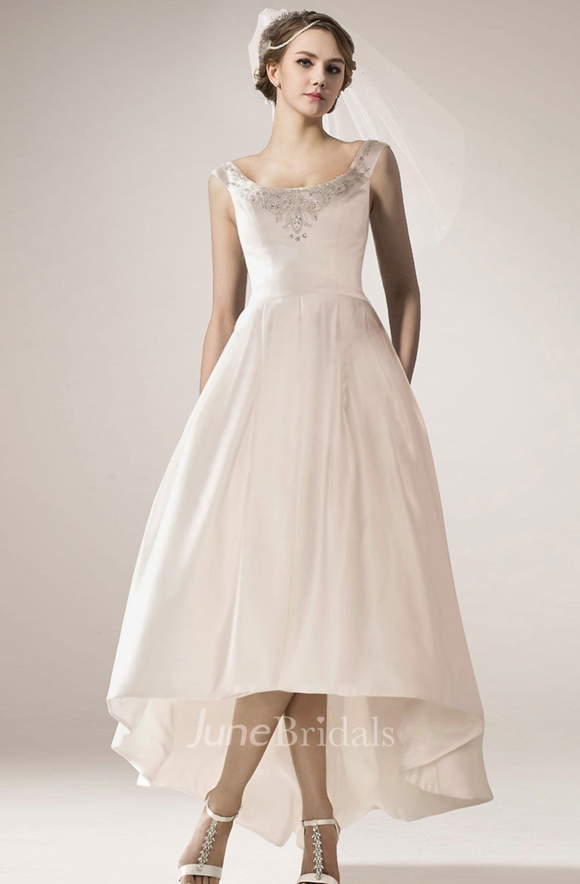 High Low Wedding Dresses.Vintage High Low Wedding Gown With Straps