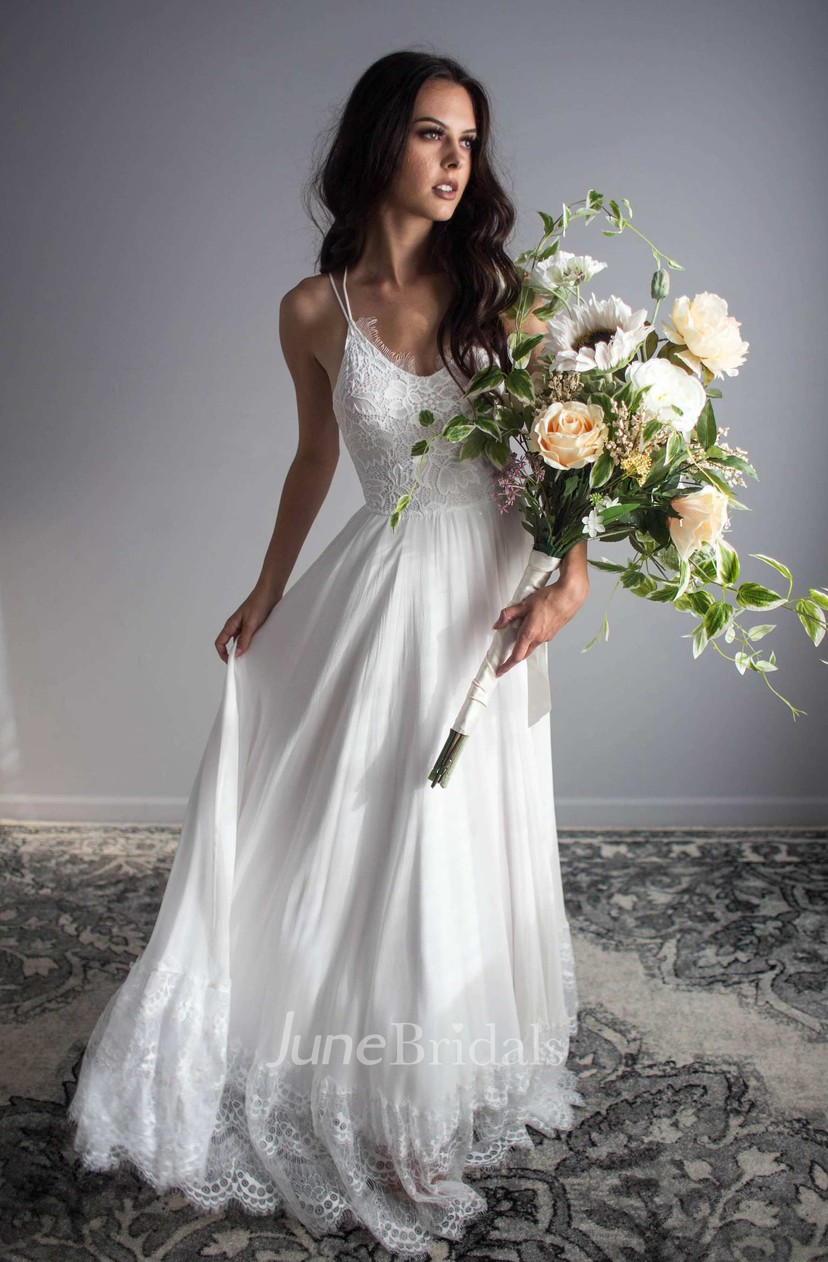 Ethereal Floor Length Chiffon Lace Wedding Dress For Summer