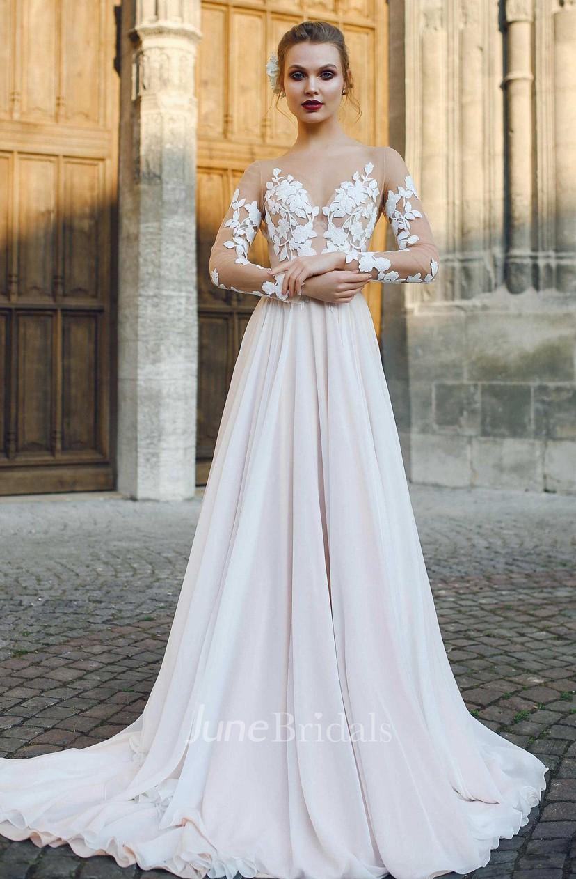 Liqued A Line Chiffon Wedding Dress